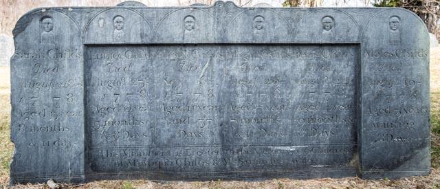 Lexington, Mass.:  Old Burying Ground, memorial to children of Abijah & Sarah Childs (ca. 1778)  4/10/13