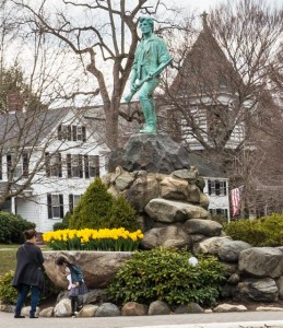 Lexington, Mass.:  Mother and child at Minute Man Monument 4/10/13