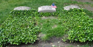 Cleveland, Ohio:  Graves of John D. Rockefeller (center) and his wife and mother, Lakeview Cemetery  5/22/10