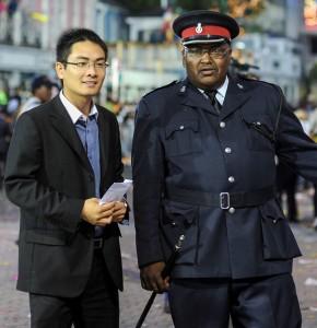 Nassau, Bahamas:  Chinese Dignitary arriving at Junkanoo  1/2/12