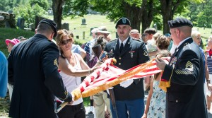 Plymouth, VT:  Coolidge Memorial Service, National Guardsmen furling the colors 7/4/13