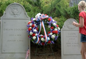 Plymouth, VT:  Headstones of Pres. Calvin Coolidge & his Son 7/4/12