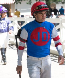 Saratoga, NY:  Jockey on Way to Saddling Enclosure 8/25/24