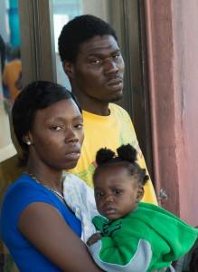 Nassau, Bahamas:  Family at New Year's Day Junkanoo  1/1/14