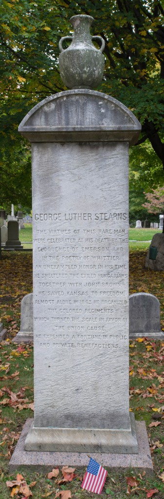 Cambridge, MA:  Mt. Auburn Cemetery, headstone of George L. Stearns  10/13/14