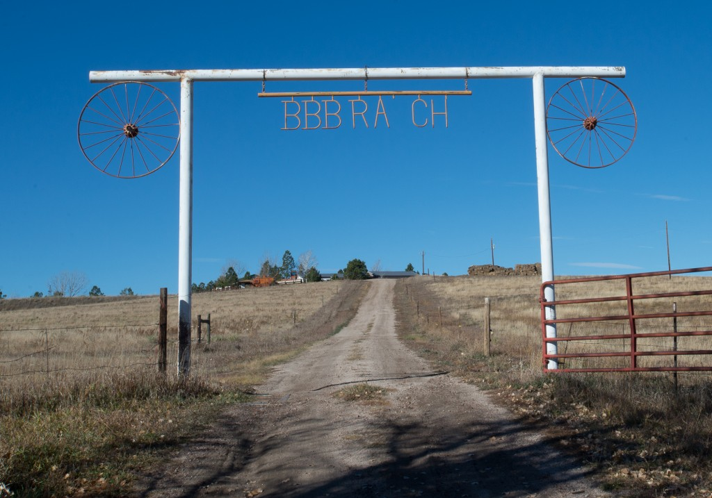 Elizabeth, CO:  BBB Ranch Gate  11/8/14
