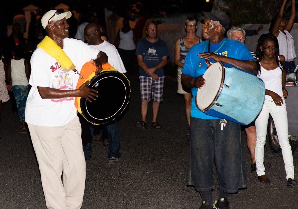 Nassau, Bahamas:  Two Junkanooers at Duvalier Rush 1/4/15