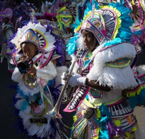 Nassau, Bahamas:  Young Trumpet Players, Boxing Day Junkanoo 2014