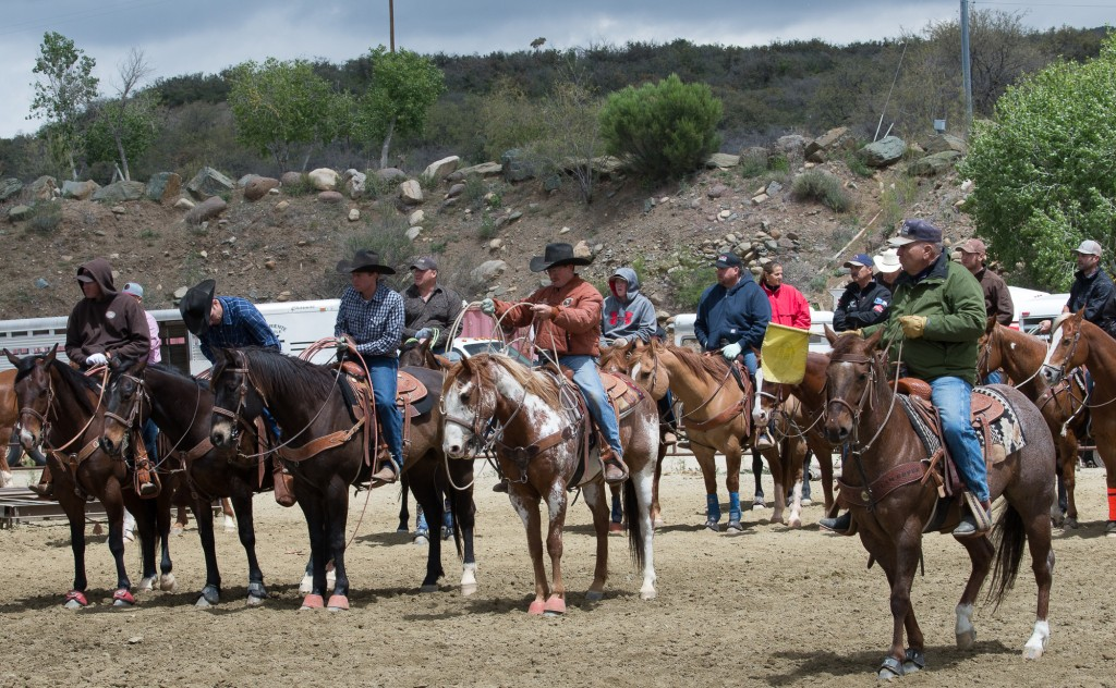Mayer, AZ:  Riders & Judge awaiting next run.  4/25/15