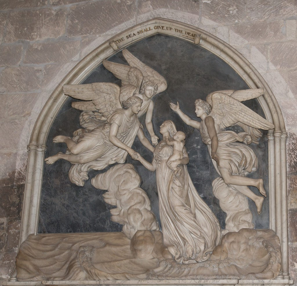 Worcester, England:  Worcester Cathedral, memorial to Sarah Morley, mother of seven, who died at 29 in childbirth (1784) on shipboard returning to England from Bombay  7/2/15