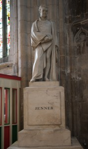 Gloucester, Gloucestershire: Gloucester Cathedral, statue of Edward Jenner, vaccination pioneer 7/2/15