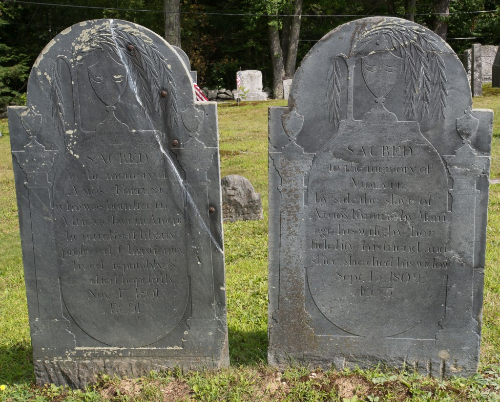 Jaffrey, NH: Old Burying Ground, headstones of Amos & Violante Fortune 8/29/15