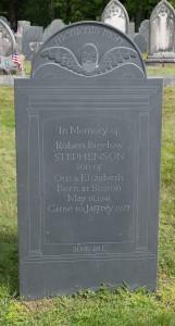 Jaffrey, NH: Old Burying Ground, headstone of Robert Stephenson 8/29/15