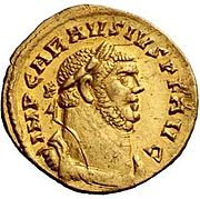 Golden coin issued by Carausius, pretender to the Roman throne. Ca. 290